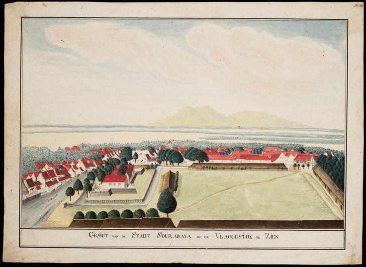 All sizes | Tekening in vogelvlucht van de stad Soerabaja, 1800-1850 / Aerial…