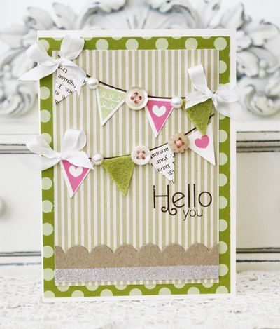 Safhty1: Hello Banners, Cards Ideas, Banners Cards, New Baby Cards, Pretty Cards, Melissa Phillip, Buntings Cards, Cards Banners, Buttons Cards