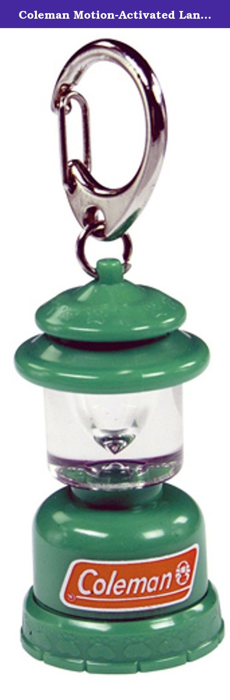 Coleman Motion-Activated Lantern Pet Tag. Light your pet's way and make them easy to find in the dark, with the Coleman Motion-Activated Lantern Pet Tag. The miniature classic Coleman Lantern contains a super-bright red LED that lights up and flashes when your pet moves. It's water-resistant, so it can go wherever your pet goes, and is durably constructed to withstand all your pet's outdoor activity. Pet ID tag is included.