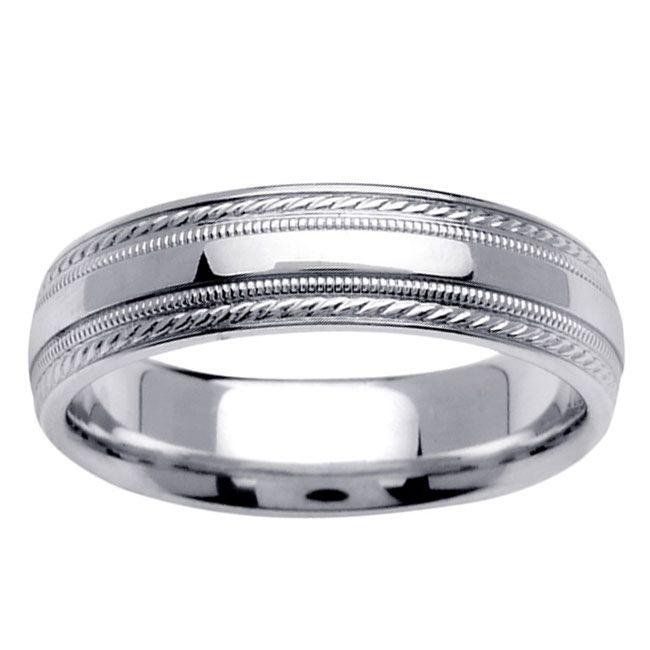 14k White Gold Men's Fancy Wedding Band - Overstock™ Shopping - Big Discounts on Men's Rings
