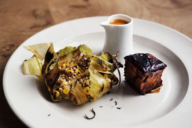 Corn on quinoa tamale, salsa, glazed pork belly recipe by the professional chef Bruno Loubet