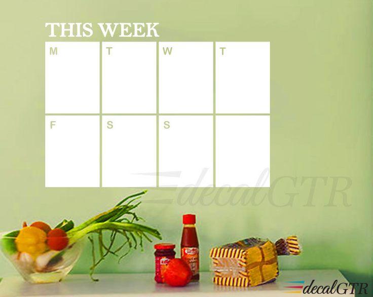 Dry Erase Weekly Calendar Decal - dry erase calendar weekly planner sticker - white board - dry erase wall calendar - White Vinyl - D012 by DecalGTR on Etsy https://www.etsy.com/listing/237082467/dry-erase-weekly-calendar-decal-dry
