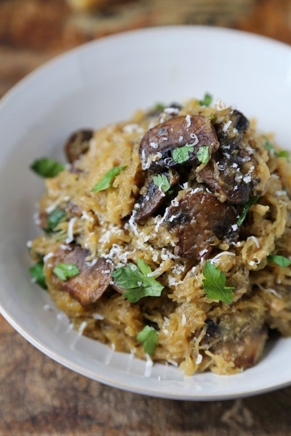 Rustic Spaghetti Squash with Mushrooms and Parmesan Cheese