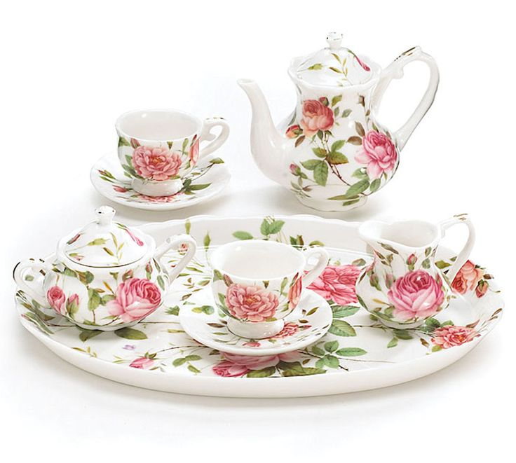 Saddlebrook Pink Roses Porcelain Miniature Tea Set burton+Burton New Gift Boxed #burtonBURTON