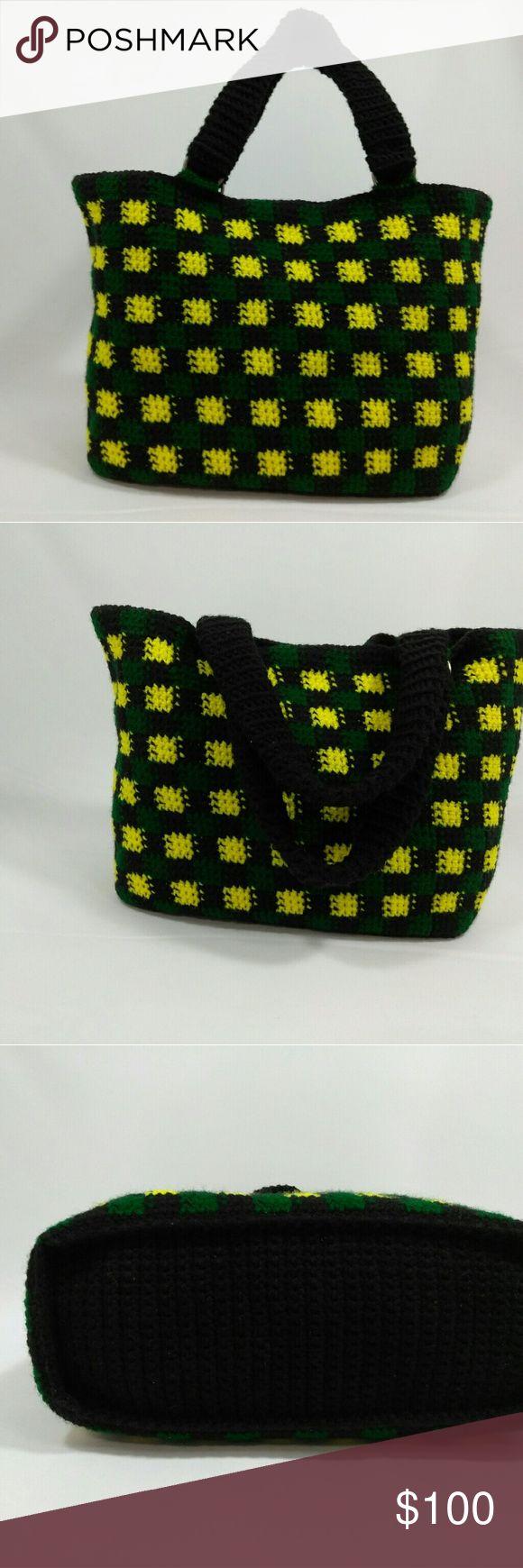 Jamaican colored women crochet handbag handmade Jamaica flag crochet women handbag Bags Totes