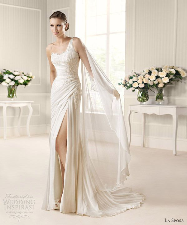 la sposa 2013 fashion musa one shoulder high slit drape wedding dress