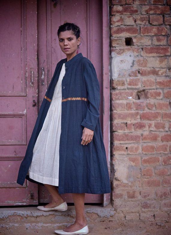 Kabul, Hand Made Khadi Jacket in Indigo with Cream Muslin dress, Hand…