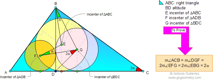 Geometry Problem 38. Right triangle, Altitude, Incenters, Angles.  Level: High School, College, Math Ed.