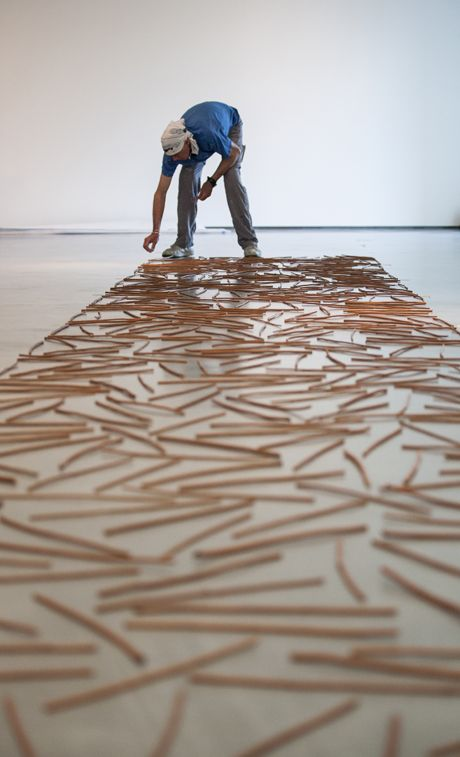 Richard Long, Somerset Willow Line (1980) Installation view at The Hepworth Wakefield, Photo by Stephen Jackson