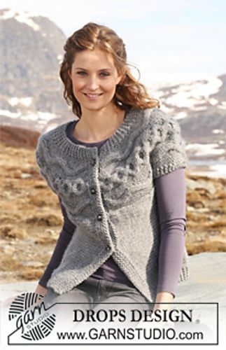 "Ravelry: 116-25 Jacket knitted from side to side with cable pattern in ""Eskimo"" pattern by DROPS design"