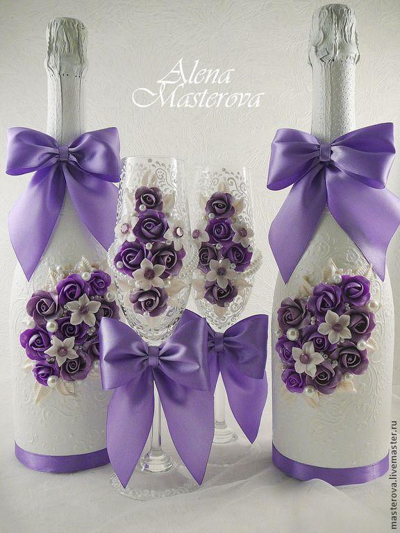 Купить или заказать Свадебный набор ' Кружева' в интернет-магазине на Ярмарке Мастеров. Набор в сиреневых тонах с кружевной росписью.
