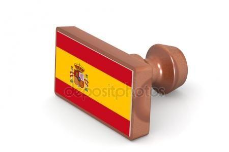 Wooden stamp with Spain flag Imagen De Stock