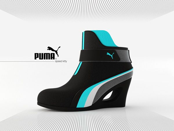 This platform shoe combines both futuristic design with a bit of sporty fun. The Puma Speed Kitty - Shoe Concept by Adam Nagy looks like something out of a space flick. #puma #shoe #YankoDesign
