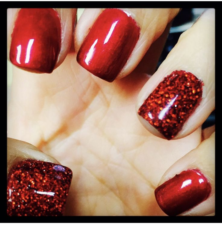 Gel Polish Red natural Nails Gelish Queen of Hearts w Glitter RockStar accent