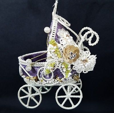 Baby Buggy Carriage Christmas Ornament Purple Velvet Metal Beads Sequins Sparkle