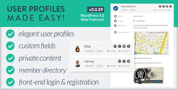 User Profiles Made Easy v2.0.25 – WordPress Plugin: With the help of this ultimate plugin you can create fully-fledged front-end profiles and login page for your WordPress users. It's a feature-rich WP plugin that works excellent with any of the WordPress themes.