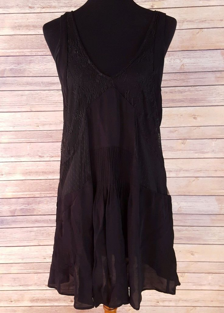 Nice Awesome NWT Zara Womens Black Lace Panel Trapeze Dress Floral Romantic L Boho Pin Tuck  2017 2018