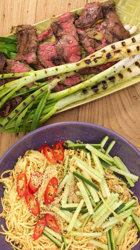 Sliced ginger-garlic steak and cold sesame noodles