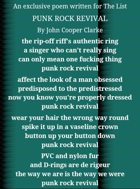 """John Cooper Clarke, which is Alex's favourite poet, wrote this poem for """"The List"""", wich seems to perfectly describe Arctic Monkeys' first years."""