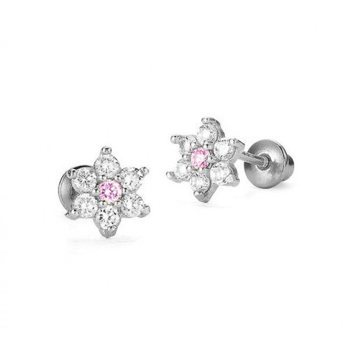 Children's Earrings:  Sterling Silver WhitePink CZ Star-flower Earrings with Screw Backs. From a huge range of baby and children's screw back earrings at Baby Jewels.