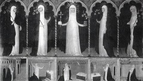 Andrea di Bartolo, Sainte Catherine de Sienne et Quatre Sœurs du Tiers-Ordre Dominicain, 1393-1394. Tempera sur panneau, Murano, Museo Vetrario