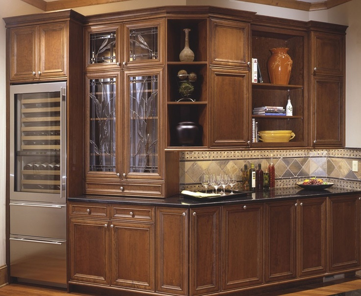Florence cherry glass doors by bellmont cabinets bar for Cherry kitchen cabinets with glass doors