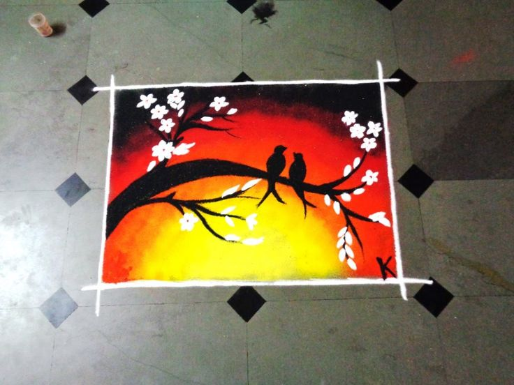 how to make two birds poster latest rangoli