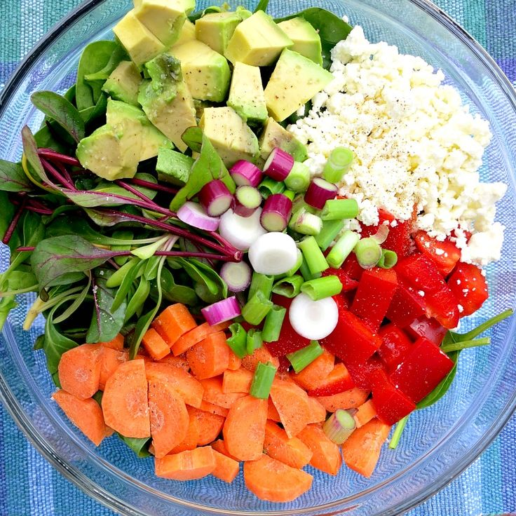 Vegetarian Cobb Salad with Avocado, Feta, Bell Peppers, Carrots, Baby Swiss Chard and Green Onions