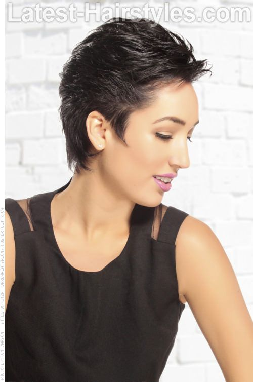 Short Haircut with Longer Top Side View
