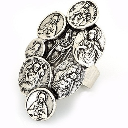 Silver Saint Coin Ring from Low Luv -   This statement ring from Erin Wasson's 'Low Luv' line is plated in sterling silver, with 7 smaller coins collated around a larger coin as the centrepeice.Each coin features a raised etched illustration of a saint $79