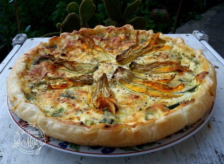 Torta+salata+zucchine+ricotta+e+fiori+di+zucca