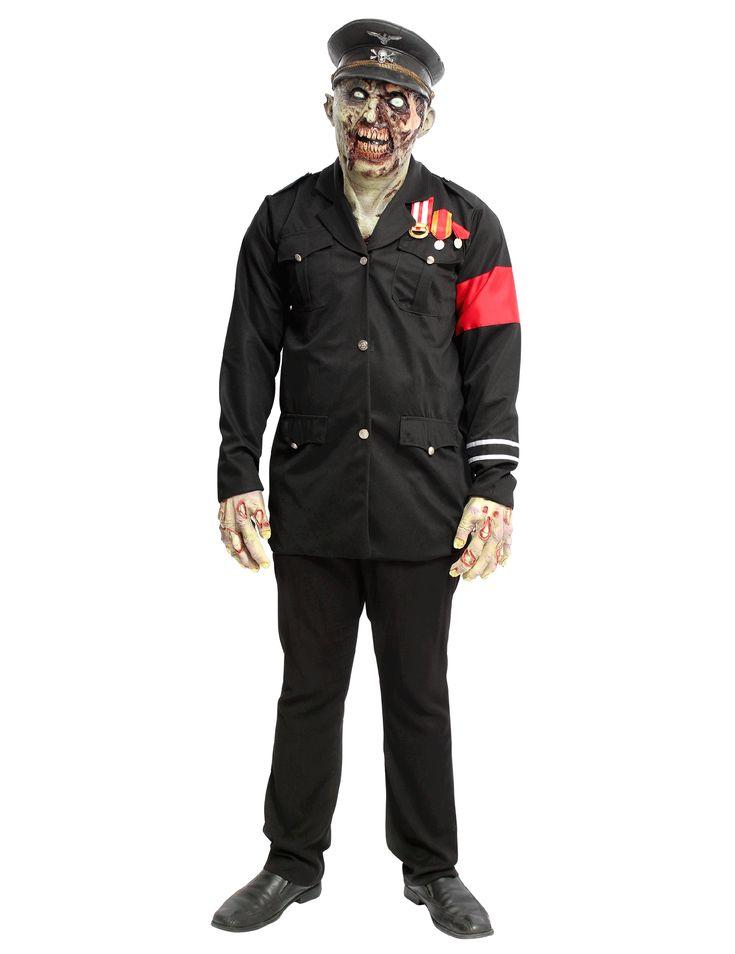 Déguisement dictateur zombie adulte Halloween : Ce déguisement est composé d'une veste et d'un masque (mains, pantalon et chaussures non inclus).Entièrement noire, la veste est doublée et se pare...