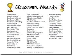 Classroom Award List freebie - free certificate and list of awards for the end of the year