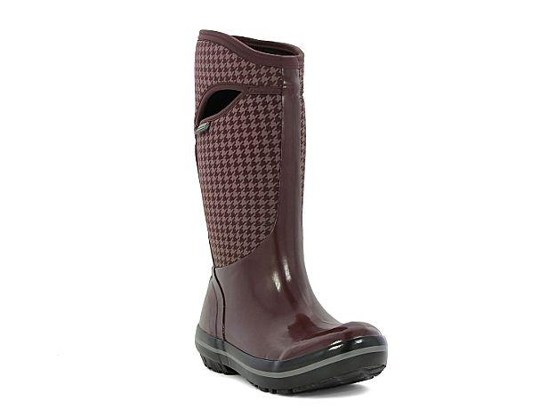 Women Plimsoll Houndstooth Tall Rain Boot -Burgundy