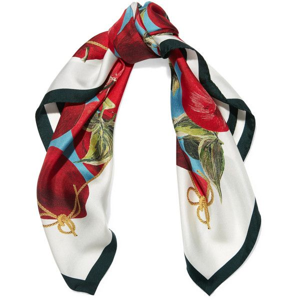 Dolce & Gabbana Printed silk-twill scarf (€225) ❤ liked on Polyvore featuring accessories, scarves, multi colored scarves, silk twill scarves, folding scarves, colorful scarves and colorful shawl