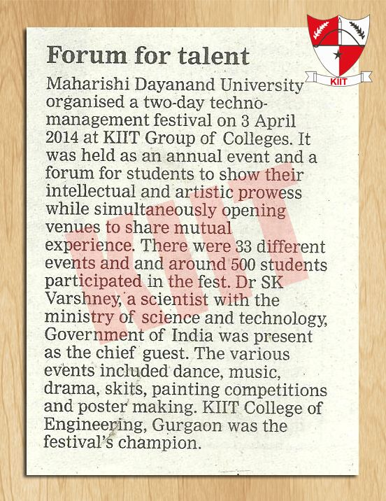 #MD University Techno fest Organized At #KIIT Group Of Colleges On 3rd April, 2014