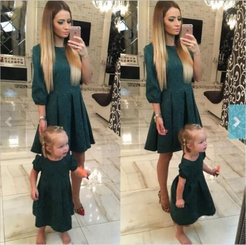 Dark green prints mother daughter dress