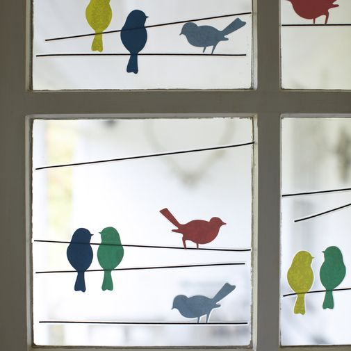 bird window art - cut paper for fun accents