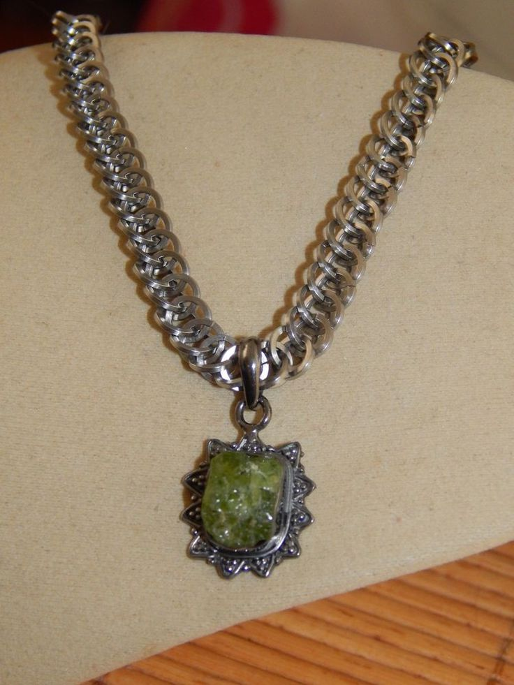 Natural Rough Phrenite .925 Silver Pendant on Solid Stainless Steel Chain Maille