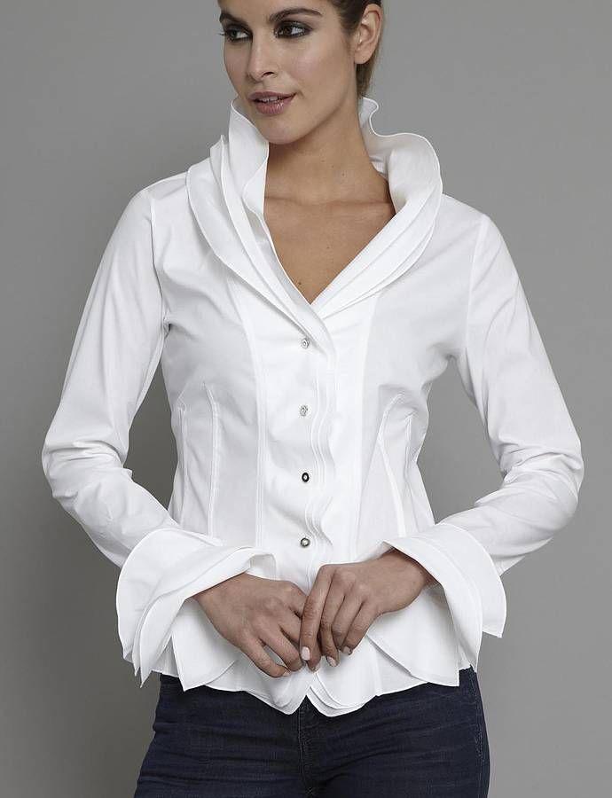 Ruffles. isabella white shirt by the shirt company   notonthehighstreet.com