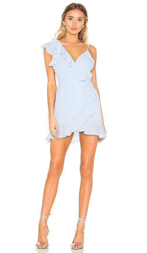 3f000c8e077 superdown Areanna Wrap Dress in Baby Blue
