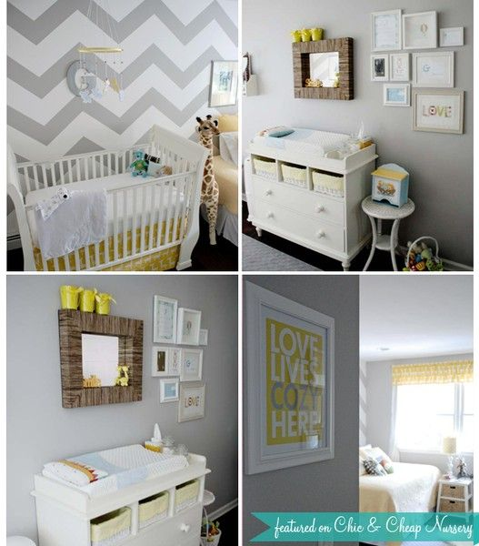 love the grey and yellow and chevron wall...and the gallery wall. love this nursery