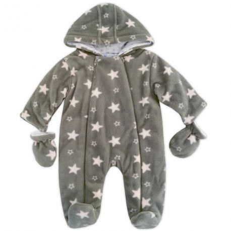 Combi-pilote bébé fille en polaire grise à étoiles roses