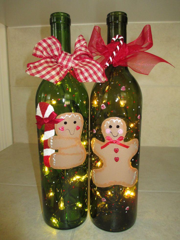 Gingerbread Men, Lighted, Hand Painted Wine Bottles.