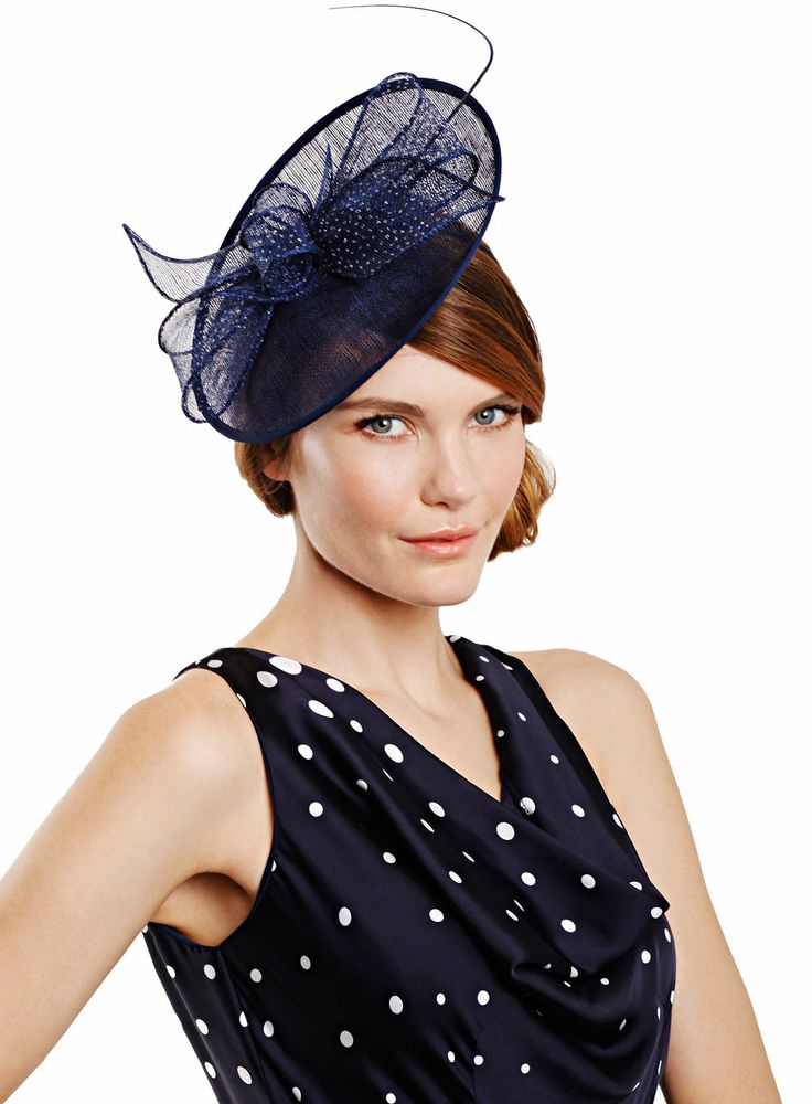 Navy Single Quill Oval Fascinator - fascinators - accessories - Women- BHS