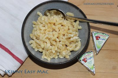 """Easy Mac (and Cheese) for One"" made with one Laughing Cow wedge.  Only takes minutes to make.  Complete recipe can be prepared in microwave."