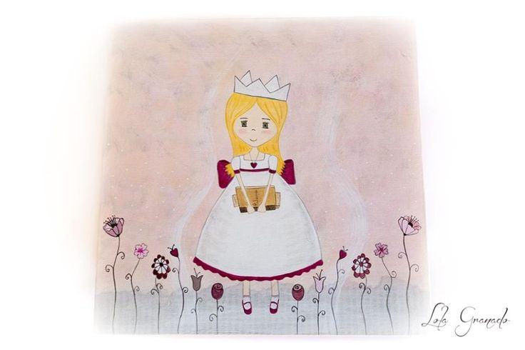 Caja de madera princesa con flores, pintada a mano. Regalo para su Comunión. Decorada con dibujo de princesa con vestido blanco y fresa, lleva una corona y un colgante en forma de corazón. Está suj…