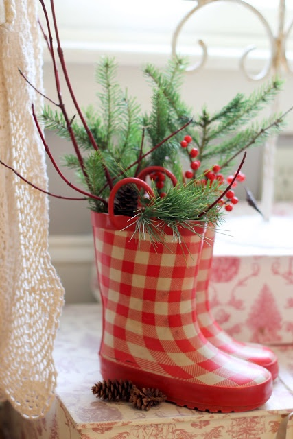 Sweet pair of checkered boots decked out for the holiday