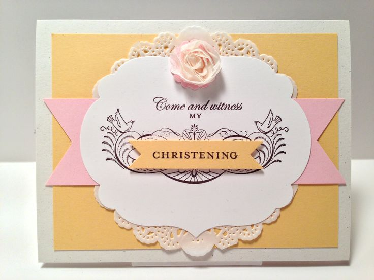 """Stampin' Up!, Stylin"""" Stampin Blog Hop Christening, My Special Day, Labels Collection Framelits, Bitty Banners Framelits, 7/8 Scallop Circle Punch, Tea Lace Paper Doilies, 5/8 Flower Trim"""