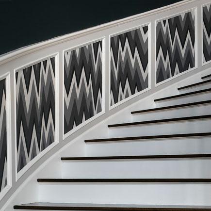 dado rail grey black white wainscoting stair treatment. Black Bedroom Furniture Sets. Home Design Ideas